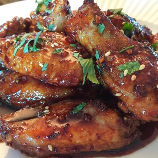 Fried Chicken Wings in Sticky Honey Soy Garlice Sauce