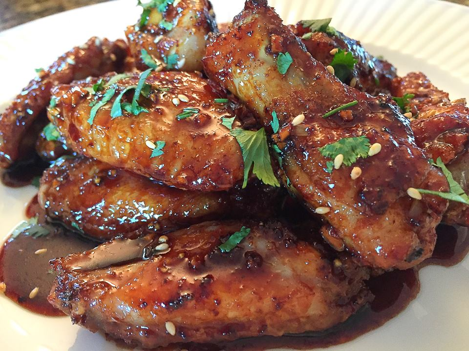 Fried Chicken Wings in Sticky Honey Soy Garlic Sauce
