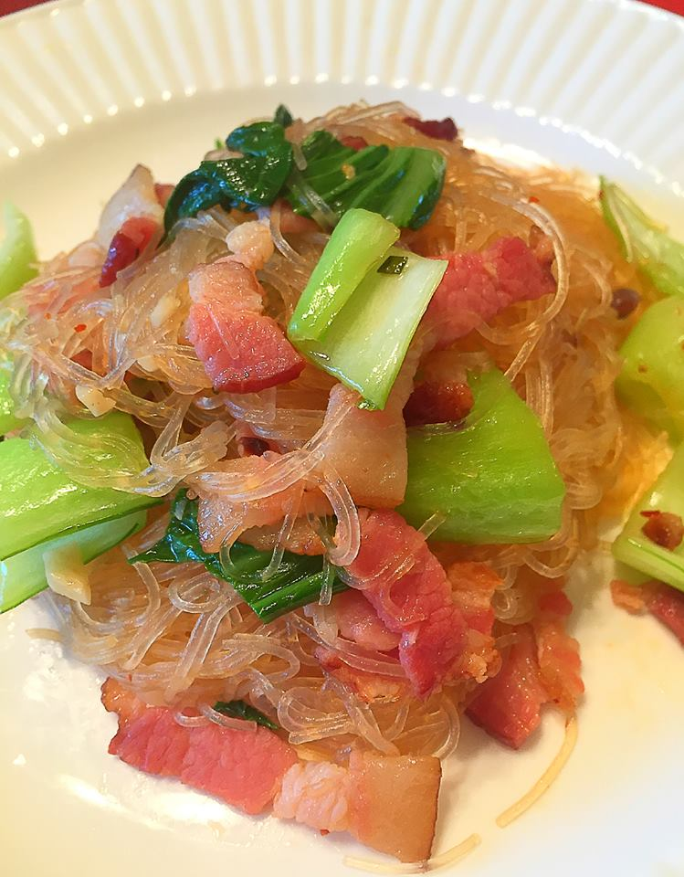 GLASS NOODLES WITH BACON AND BOK CHOY