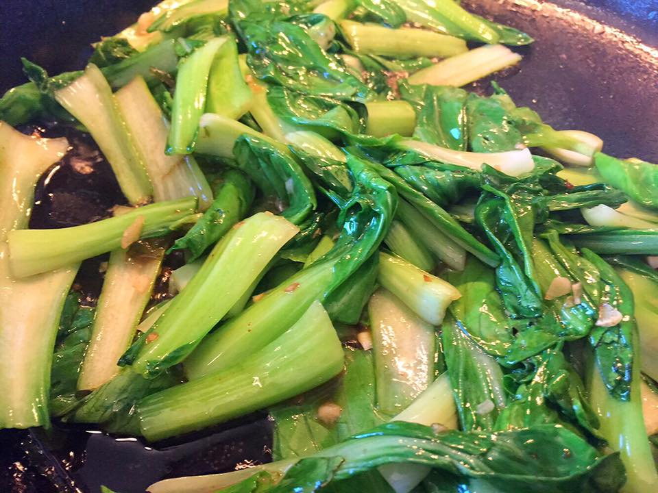 Stir-Fried Baby Bok Choy with Bacon
