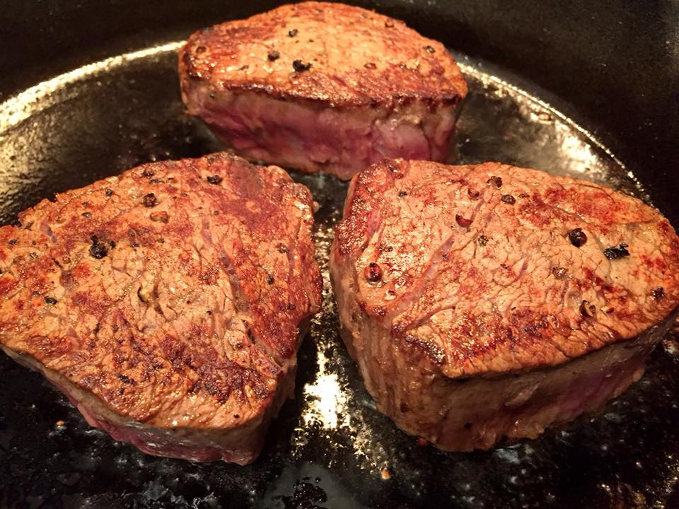 Cast Iron Steak Filets with Roasted Shallots