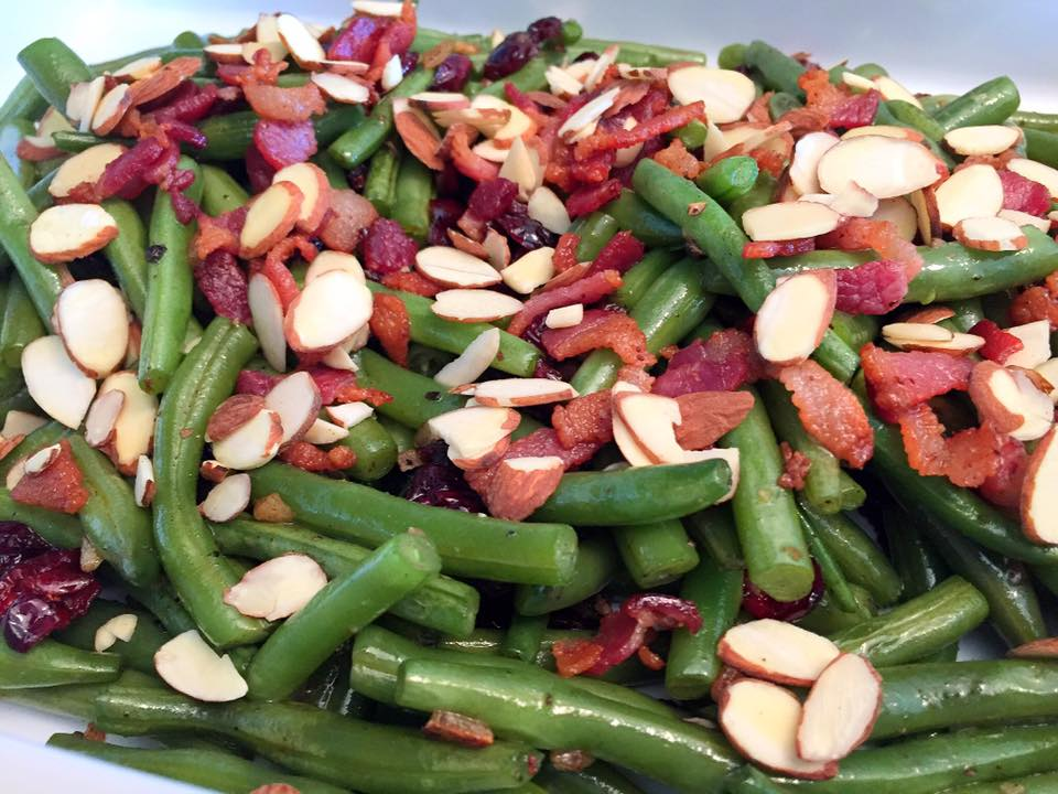 Green Beans with Bacon Cranberries and Almonds